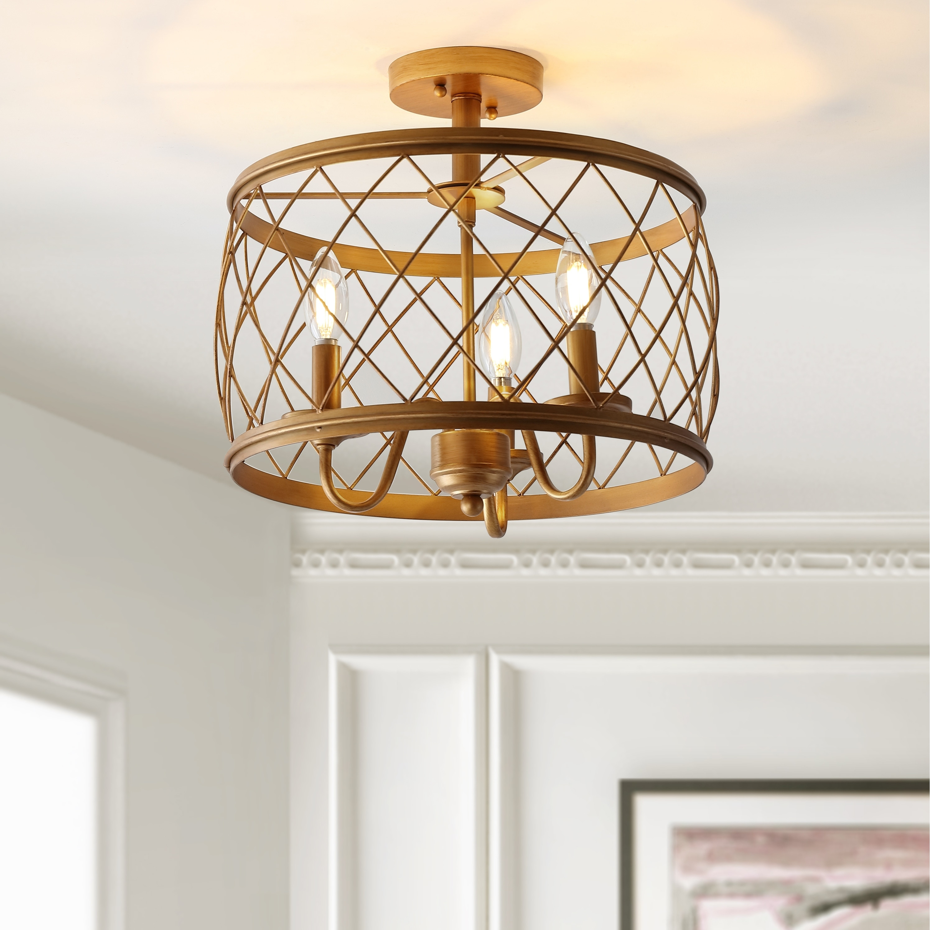 Image of: Shop Black Friday Deals On Eleanor 15 Metal Led Flush Mount Ceiling Light Gold By Jonathan Y Overstock 25858981