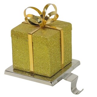 "6"" Gold Glittered Gift Box Shaped Christmas Stocking Holder"