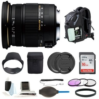 Sigma 17-50mm f/2.8 EX DC OS HSM Zoom Lens for Nikon DSLR with Backpack Bundle