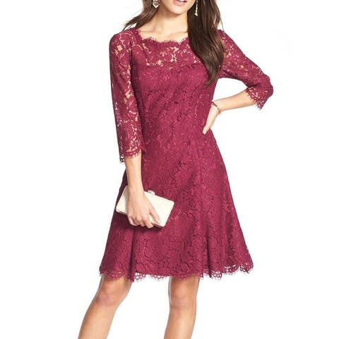 Eliza J Red Womens Size 10 Scalloped Lace Fit Flare A-Line Dress
