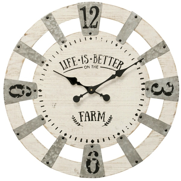 """StyleCraft SC-WC2134 23 1/4"""" Metal and Wood """"Life is Better on the Farm"""" Analog Clock - White"""