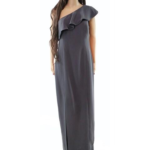 Calvin Klein Womens One Shoulder Slit Gown Dress