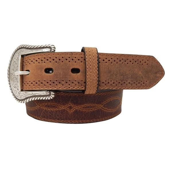 Dan Post Western Belt Mens Stitch Crazy Horse Brown