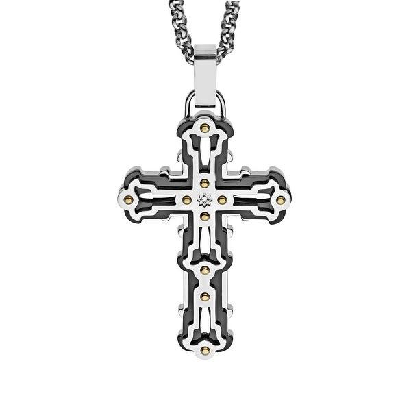 Black and Blue Men's Men's Layered Cross Pendant with Diamond in Stainless Steel