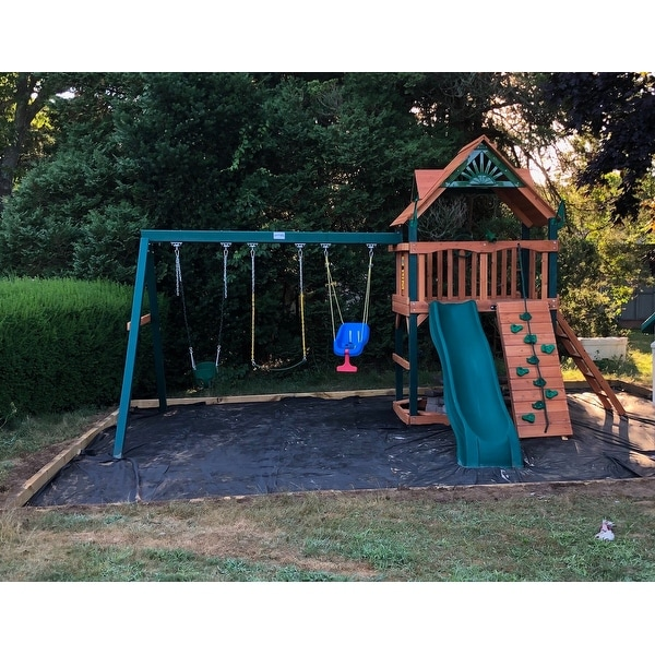 Shop Gorilla Playsets Chateau Cedar Swing Set With Timber Shield
