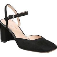 aa433d6e75e6 Franco Sarto Women s Lavita Ankle Strap Heeled Sandal Black Diva Suede