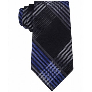 Michael Kors NEW Black Blue Tracks Plaid Mens Silk Business Necktie