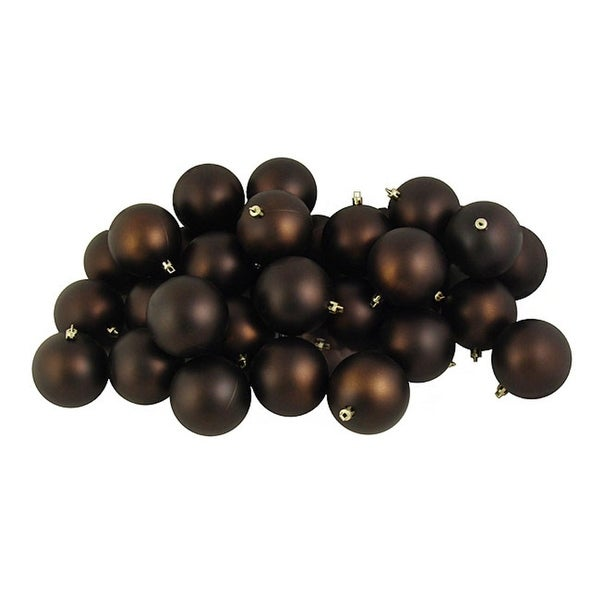 "32ct Matte Chocolate Brown Shatterproof Christmas Ball Ornaments 3.25"" (80mm)"