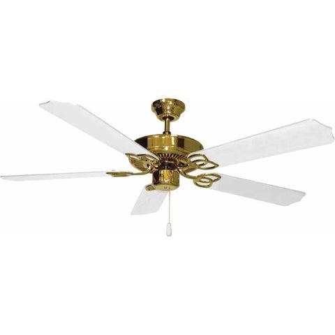 "Volume Lighting V5954 5 Blade 52"" Indoor Ceiling Fan with White Blades - Polished brass"