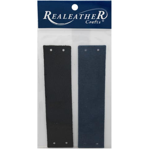 "Realeather Crafts Filigree Bracelet Leather Blanks 1.5""-Black/Cadet Blue"
