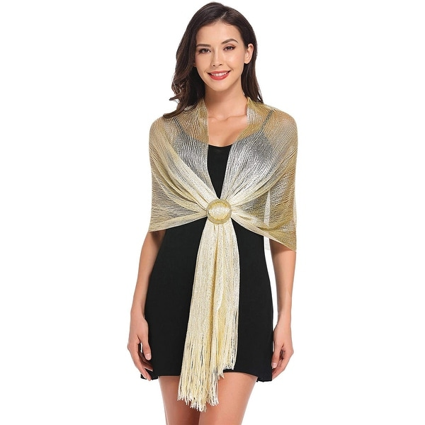 Womens Wedding Wrap Shawl Glitter Metallic Party Scarf with Fringe. Opens flyout.
