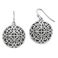 Chisel Stainless Steel Polished/Antiqued Circle Dangle Earrings