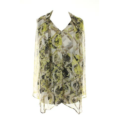 Alfani Lime Sleeveless Snake Draped Chiffon Top 2