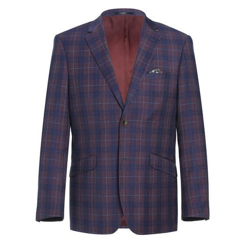Men's 2 Buttons Slim Fit Blazer Premium Plaid Sport Coat