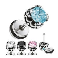 Crown with CZ Fake Plug 316L Surgical Steel (Sold Individually)