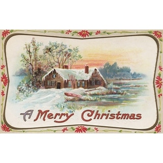 A Merry Christmas - A Country Scene - Vintage Holiday Art (Cotton/Polyester Chef's Apron)