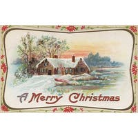 Merry Christmas Country Scene - Vintage Holiday (100% Cotton Towel Absorbent)