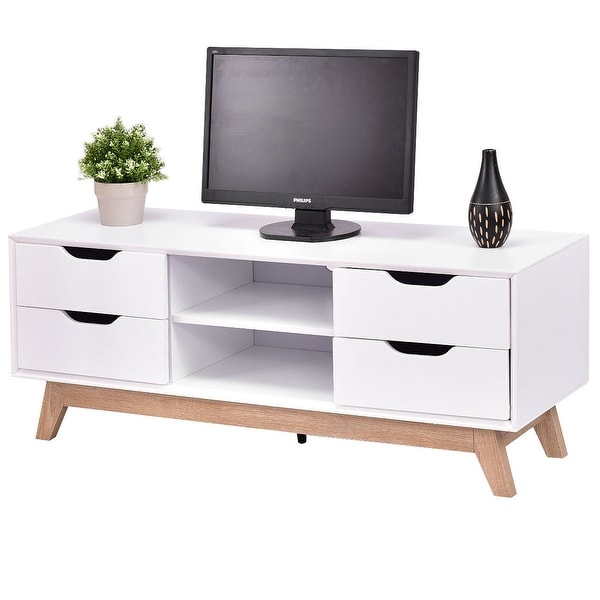 Costway Tv Stand Entertainment Center Console Storage Cabinet Drawer And Shelves W Legs