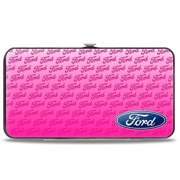 Ford Oval Corner W Text Pink Hinged Wallet - One Size Fits most