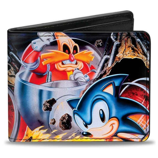 Sonic Classic Doctor Eggman & Sonic Pose Flames Bi Fold Wallet - One Size Fits most