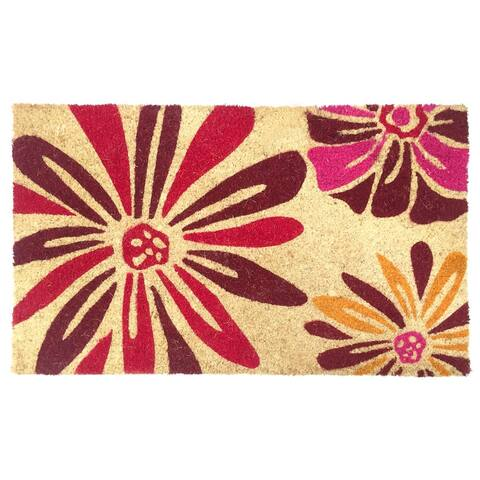 "J&M Bright Daisies Vinyl Back Coir Doormat 18x30 - 18x30"""