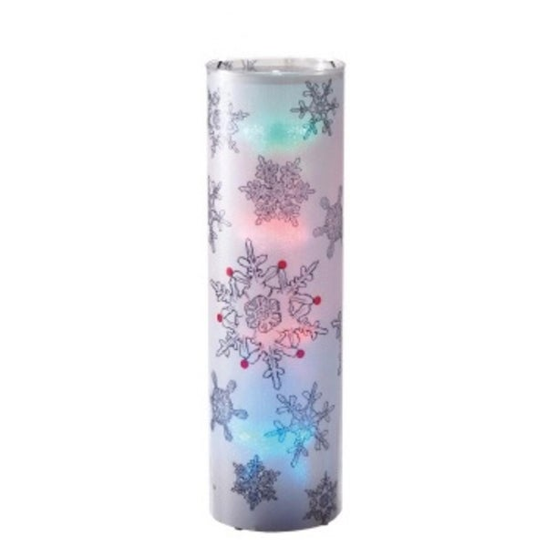 "24"" Battery Operated Transparent Snowflake Styles LED Color Changing Lighted Christmas Lantern - CLEAR"