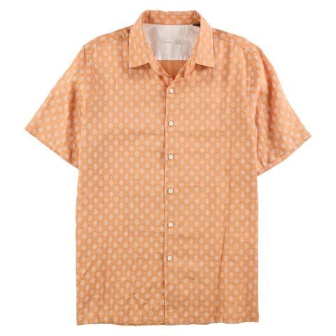Tasso Elba Mens Mercato Button Up Shirt, Orange, Medium