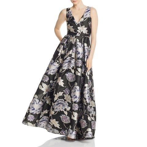 Aidan Mattox Womens Formal Dress V Neck Metallic - Aubergine
