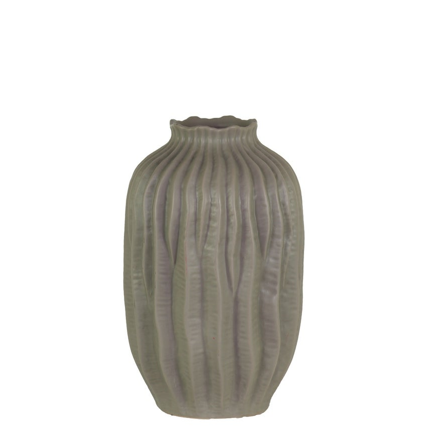 Ceramic Short Neck Round Patterned Vase With Wave Design, Small, Gray