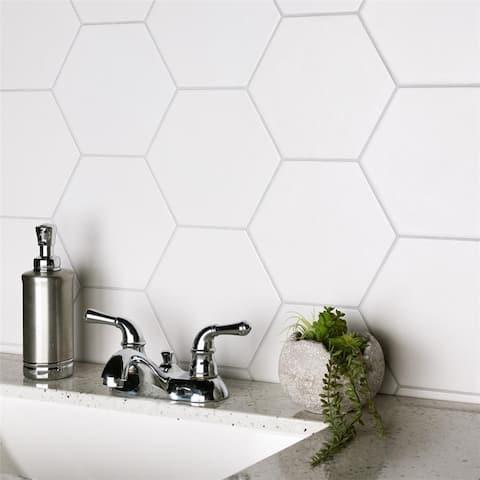 SomerTile 7x8-inch Hextile Matte Blanco Porcelain Floor and Wall Tile (25/Case, 7.67 sqft.)