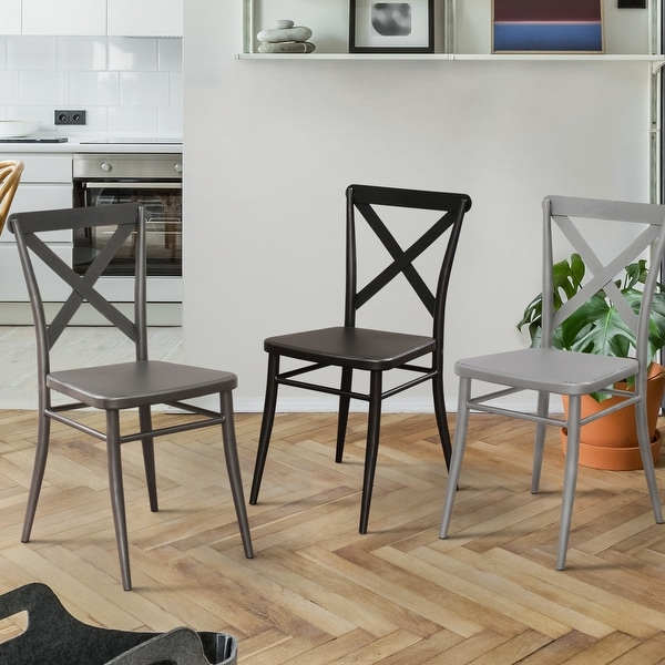 Furniture of America Pia Modern Black Metal Side Chairs (Set of 2). Opens flyout.