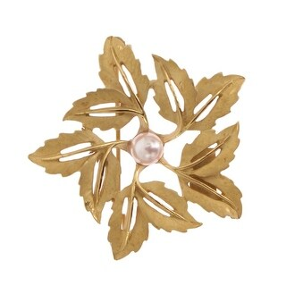 Dolce & Gabbana Gold Brass Pearl Leafes SICILY Brooch