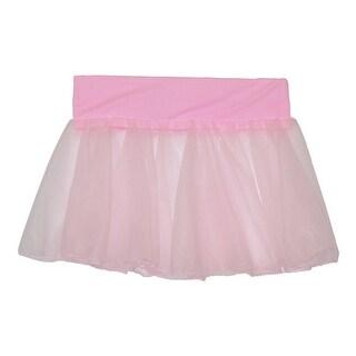 Girls Pink Solid Color Stretch Waistband Dancewear Chiffon Skirt