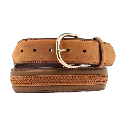 Nocona Western Belt Mens Classic Leather Lace Braid Brown