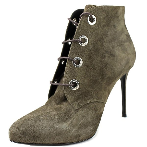 Belstaff Liv Lace-Up Women Round Toe Leather Gray Bootie