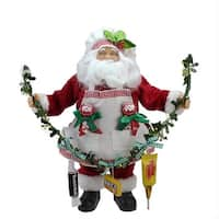 "12"" Santa Claus Holding a Garland with Tootsie Candies Christmas Decoration - RED"