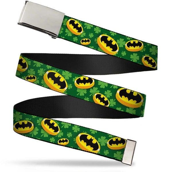 Blank Chrome Buckle Bat Shield Coins Clovers Green Gold Black Webbing Web Belt