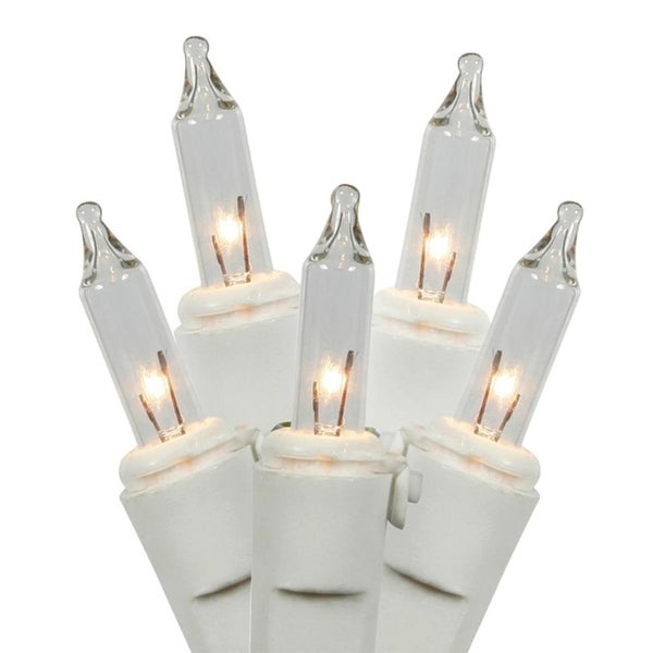 Set of 140 Clear Everglow Mini Christmas Lights - White Wire