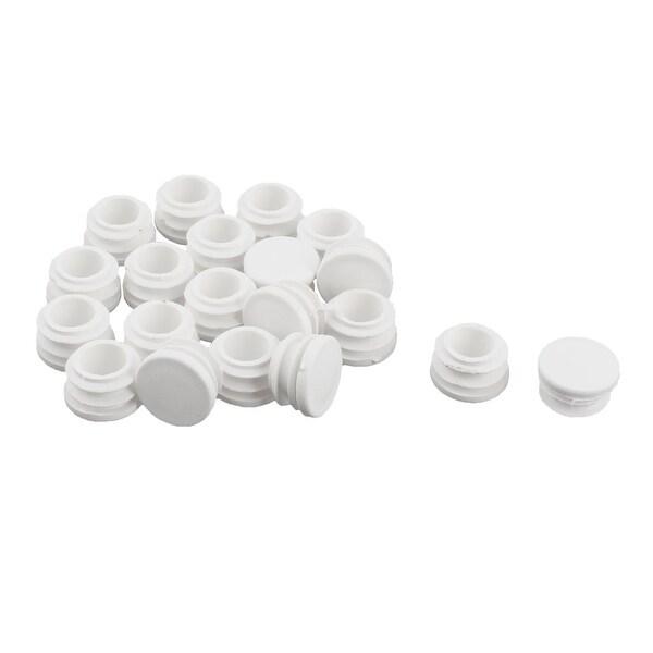 Plastic Round Flat Type Table Chair Leg Caps Insert White 22mm Dia 20pcs