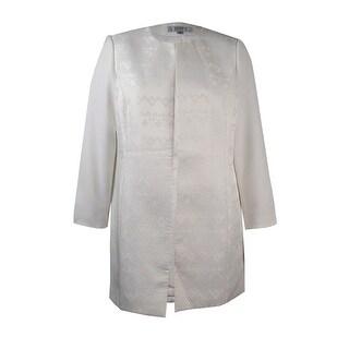 Tahari ASL Women's Plus Size Textured Diamond Shaped Blazer - Ivory White - 14W
