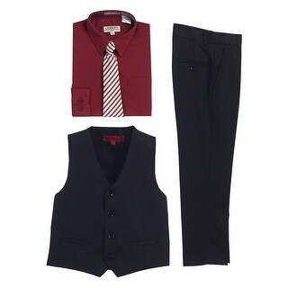 Gioberti Burgundy Black Vest Pants Striped Tie Shirt 4 Pc Formal Set