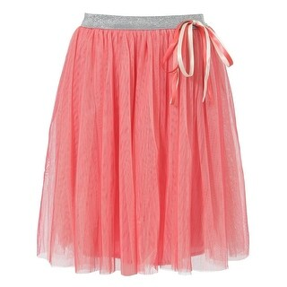 Richie House Little Girls Red Silver Satin Taped Bow Skirt 3-6