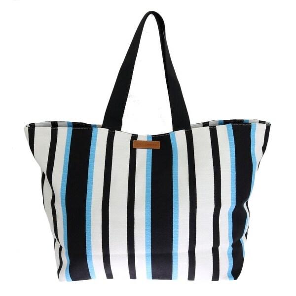 Dolce & Gabbana Blue White Striped Cotton Shopping Women's Tote - Multi - One Size
