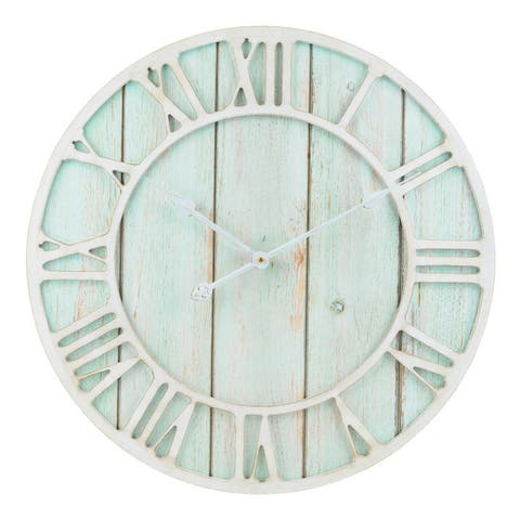 The Gray Barn Cocklebur 23.5-inch Green-Blue Quartz Coastal Wall Clock