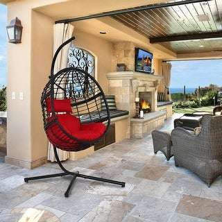 Agats Outdoor Wicker Basket Swing Chair with Red Cushions by Havenside Home