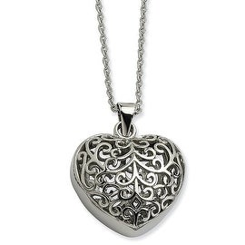 Chisel Stainless Steel Filigree Puffed Heart Pendant 22 Inch Necklace (2 mm) - 22 in