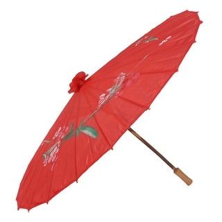 Dancing Parasol Sun Shade Flower Pattern Retro Style Craft Hanging Umbrella Red
