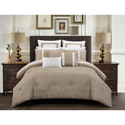 Chic Home Arlea 12 Piece Beige Jacquard Design Comforter Set