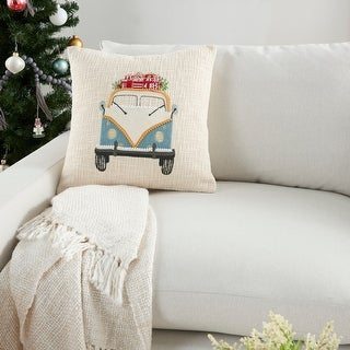 "Link to Mina Victory Holiday Vintage Bus with Gifts Multicolor Throw Pillow 18"" x 18"" Similar Items in Decorative Accessories"