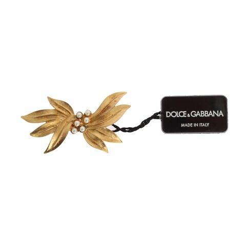 Dolce & Gabbana Dolce & Gabbana Gold Brass Leaf Crystal Hair Clip - One size